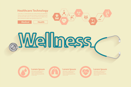 forme et sante: Wellness conception des idées de santé concept, avec Stéthoscope sous la forme d'une conception de mots de bien-être, Vector illustration design moderne modèle de mise en page