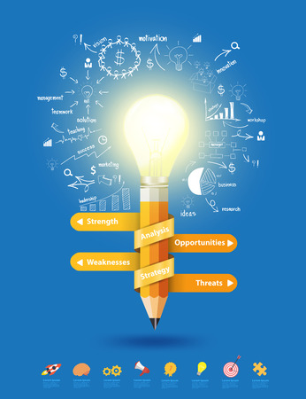 onderwijs: Pencil light bulb as creative concept, With thinking drawing business success strategy plan ideas concept, Inspiration concept modern template layout, diagram, step up options, Vector illustration