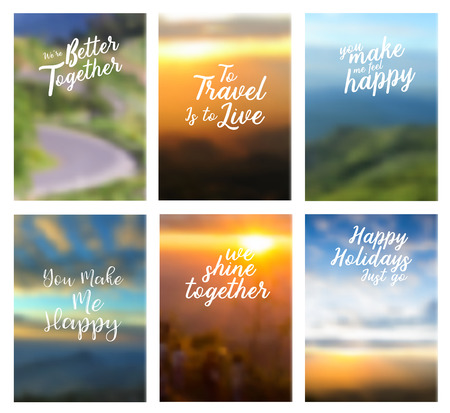 fell: Positive quotes better together, to travel is to live, you make me fell happy, you make me happy, we shine together, happy holiday just go, Page cover nature landscape background in A4 size Illustration