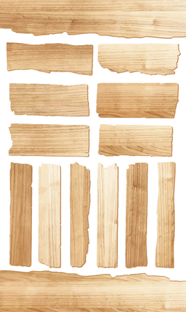 Vector wood plank isolated on white background