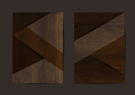 Wood texture background geometric cover business brochure vector design, Leaflet advertising modern poster magazine layout template, Annual report for presentation. Illustration