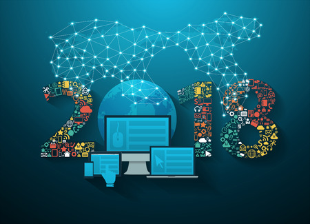 Tecnología de innovación empresarial de año nuevo 2018 establece iconos de aplicaciones, plantilla de diseño de diseño moderno de ilustración vectorial
