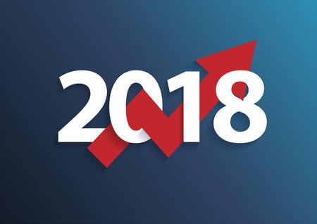Graphique d'entreprise avec la flèche vers le haut et le symbole 2018, concept de succès et illustration vectorielle de croissance idée Banque d'images - 82347044