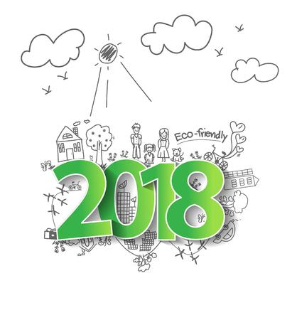 Neues Jahr 2018 mit kreativer zeichnender Ökologie eco freundlich und sparen Energiekonzeptdesign, moderne Planschablone des Vektorabbildung Vektorgrafik