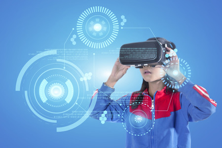 Girl with glasses of virtual reality. Future technology concept.
