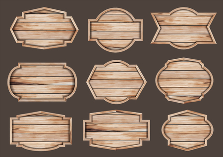 Vector wood sign realistic illustration of wooden signboard
