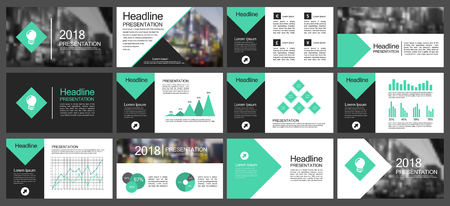 Green and black elements for infographics presentation templates on a white background. Vector illustration