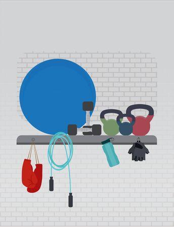 fitness equipment: Fitness equipment gym flat style. Vector illustration.