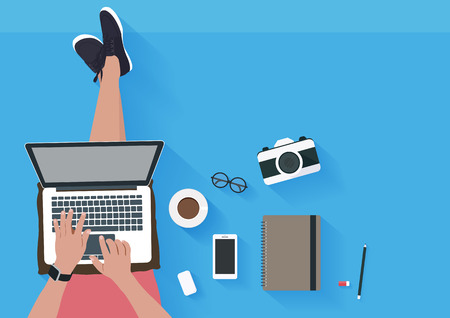 Woman sitting on the floor and working with laptop. Flat illustration top view of relaxing at home. Vector illustration
