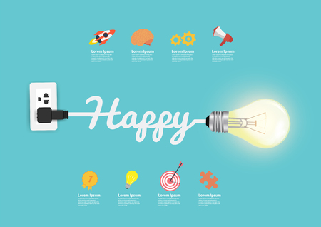 Happy concept, with creative light bulb idea vector illustration modern design template Illustration