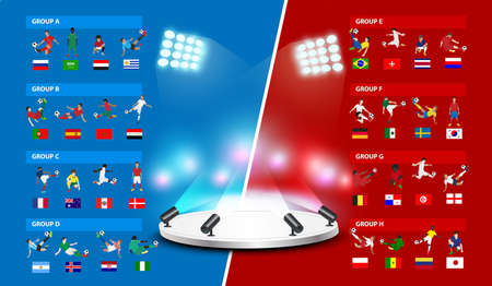 Table 2018 soccer world tournament in Russia, Vector illustration template design Illustration