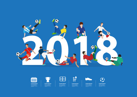 Soccer players in action on 2018 new year, Vector illustration layout template design Imagens - 91428180