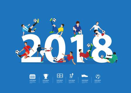 Joueurs de football en action sur la nouvelle année 2018, conception de modèle de disposition d'illustration vectorielle