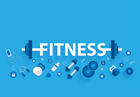 Fitness concept workout with equipment. Vectores