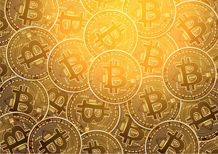 Bitcoin digital currency golden coin background. Vector illustration Illustration