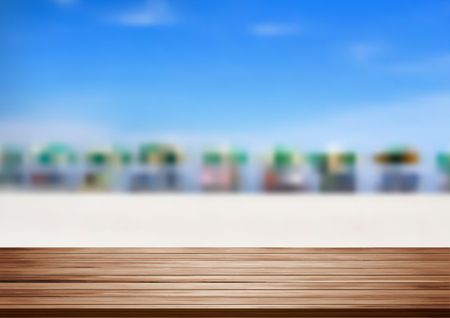 Vector wood shelf table with blurred sea beach on clouds blue sky background. product display template design Illustration
