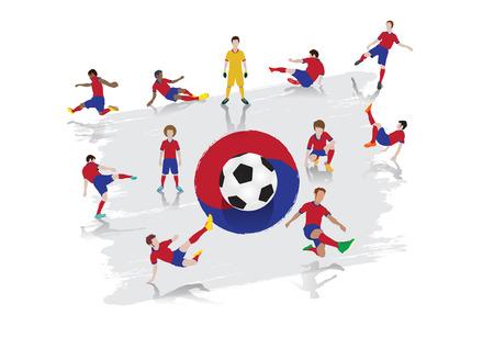 Vector soccer player team with South Korea Flag background Çizim