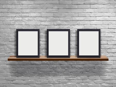 Image vectorielle maquette de trois cadres vierges sur une étagère en bois avec mur de briques blanches, concept d'espace de travail Loft Vecteurs