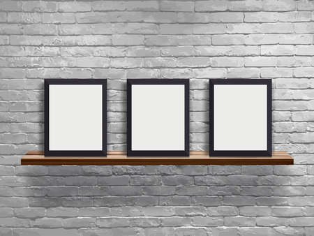 Vector mock up three blank frame on wood shelf with white brick wall, Loft workspace concept