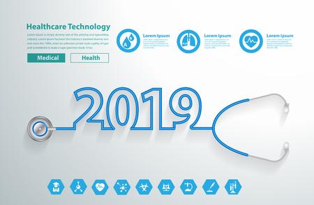 Stethoscope heart creative design ideas concept, Happy new year 2019 calendar cover, typographic vector illustration. Vector Illustration
