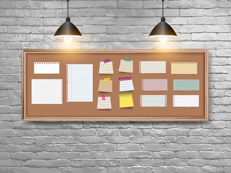 Vektorillustrationsbrett mit Holzrahmen, verschiedenen Notizpapieren, Haftnotiz und Stiften und Retro-weißem Backsteinmauerhintergrund. Loft-Arbeitsplatzkonzept