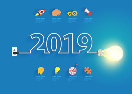 Idea de bombilla creativa con diseño de año nuevo 2019, plan de negocios de inspiración, estrategia de marketing, trabajo en equipo, concepto de ideas de lluvia de ideas, plantilla de diseño de diseño moderno de ilustración vectorial