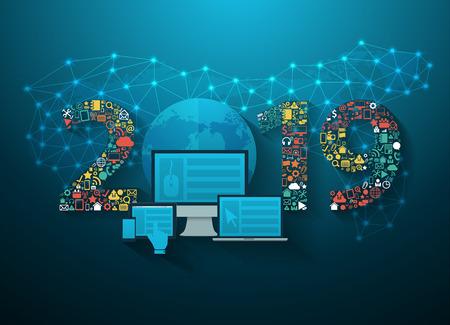 2019 neue Jahr Geschäftsinnovationstechnologie setzen Anwendungsikonen digitales Marketingideenkonzept, moderne Entwurfslayoutschablone der Vektorillustration