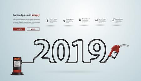 2019 nouvel an avec design créatif de buse de pompe à essence