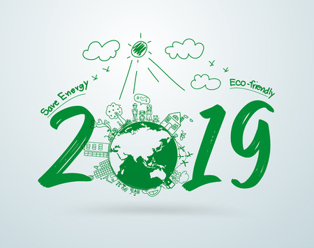 2019 new year in creative drawing environmental and eco-friendly technologies