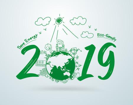 2019 nouvelle année dans le dessin créatif technologies environnementales et écologiques Vecteurs