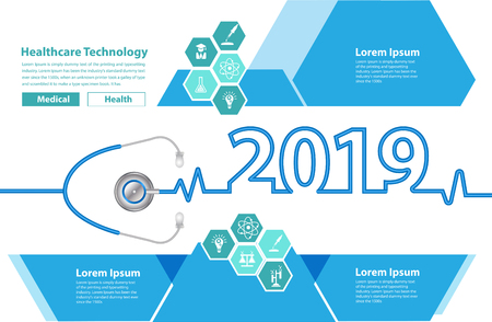 Broszura medyczna szablon projektu stetoskop serce koncepcja kreatywnych pomysłów, okładka kalendarza szczęśliwego nowego roku 2019, ilustracja wektorowa typografii