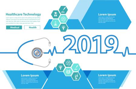 Concepto de ideas creativas de corazón de estetoscopio de plantilla de diseño de folleto médico, cubierta de calendario de feliz año nuevo 2019, ilustración de vector de tipografía
