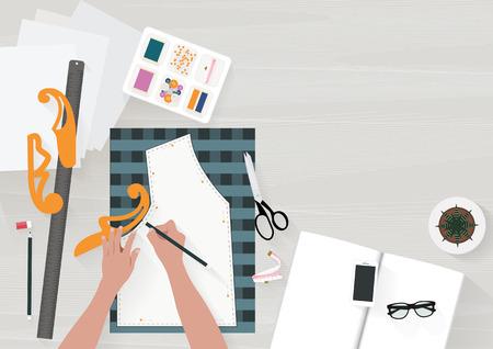 Frauen schreiben Musterkleidung auf den Tisch mit anderen Accessoires. Flache Abbildung Draufsicht. Vektorillustration