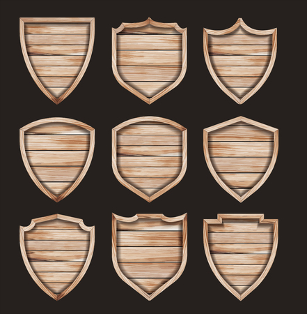 Vector wood shield realistic wooden texture sign set layout template creative design