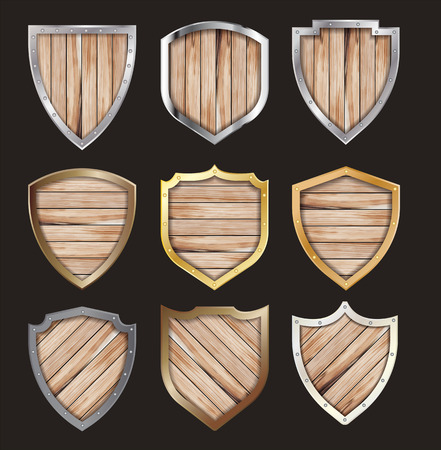 Vector wooden and metal shield protected steel icon sign set layout template creative design Ilustração
