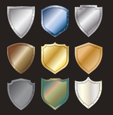 Vector protected steel shield steel icon sign set layout template creative design Ilustração
