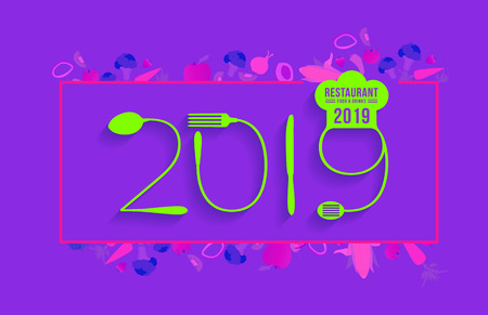 2019 new year text made number with spoon and fork creative food design, with vegetables background, Vector illustration modern layout template Ilustração