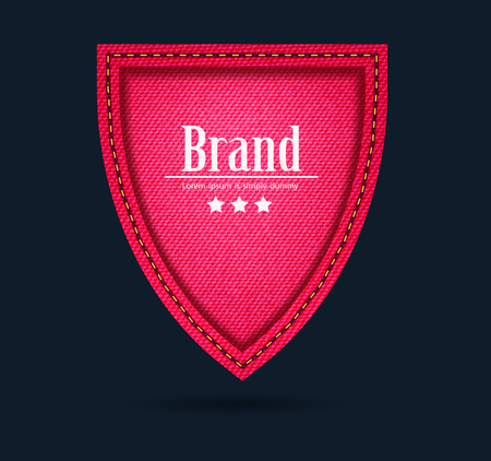 Vector red jeans shield icon protect guard sign layout template creative design