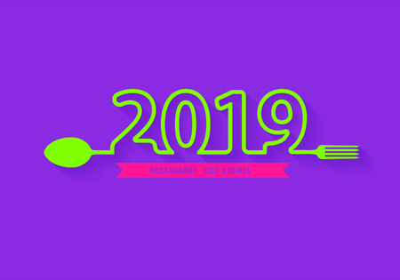 Spoon and fork restaurant food and drink icon with creative 2019 New Year text design, Vector illustration modern layout template Ilustração