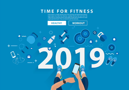 2019 new year fitness concept workout typography alphabet design with equipment. Vector illustration flat modern layout template Ilustração