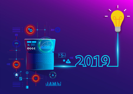 Creative light bulb idea 2019 new year with laptop computer PC, Vector illustration modern layout template design