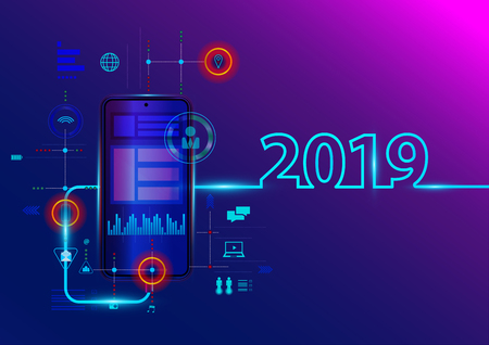 Creative 2019 new year with mobile phone, Vector illustration modern layout template design