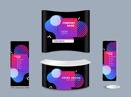 Exhibition stand mock-up design with templates Illustration