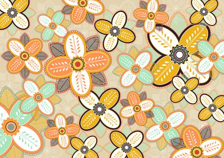Seamless flowers pattern vector illustrations template design