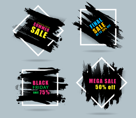 Sales banner creative design with set of black paint, ink brush strokes, brushes, Vector illustration modern layout template