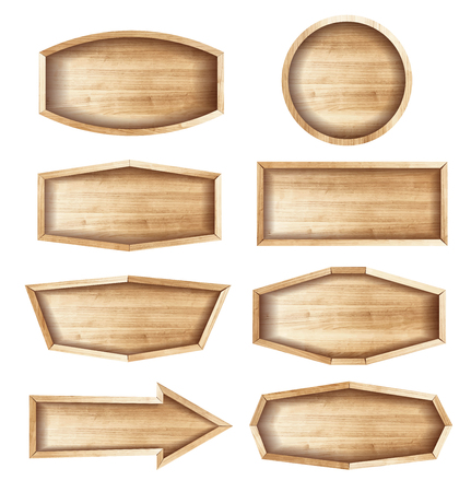 Wooden sign boards for sale,price and discount stickers, banner, badges. Vector illustration