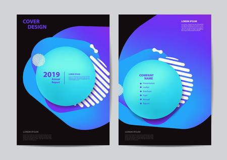 Poster flyer pamphlet brochure cover design templates for business Prism color of the rainbow in a bright and geometric multi-colored bubbles and fluid shapes, Vector illustration in A4 size Ilustração