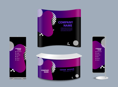 Geometric liquid form various colors with exhibition stand mock-up design templates, Modern abstract vector set