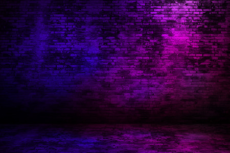 Brick wall texture  with neon light.