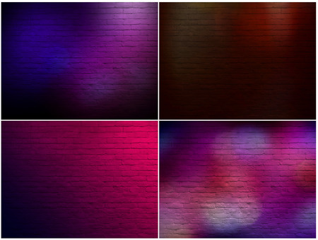Set of brick wall texture  with neon light
